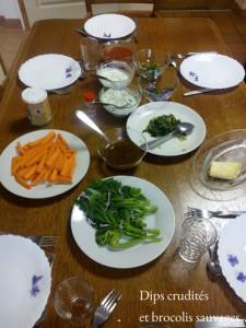 dips de crudités et brocolis sauvages